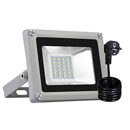 Warmweiß 20 Watt Strahler Garten Flutlicht mit PIR Bewegungsmelder LED Fluter 220V Außenleuchte Wandstrahler Außenstrahler IP65 3000-6000K (Kaltweiß, 1PCS)