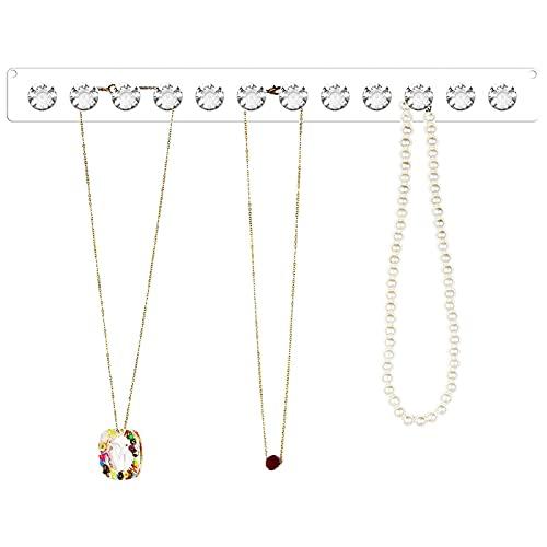 Organizador de joyas para colgar collares – Soporte montado en la pared con 12 ganchos brillantes en forma de diamante, perfecto para pendientes, collares y pulseras (transparente)
