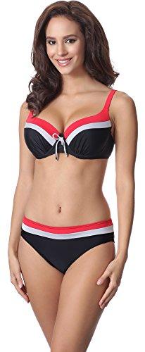 Merry Style Damen Bikini Set P62378TSG (Schwarz/Silber/Rot, Cup 100 C/Unterteil 48)