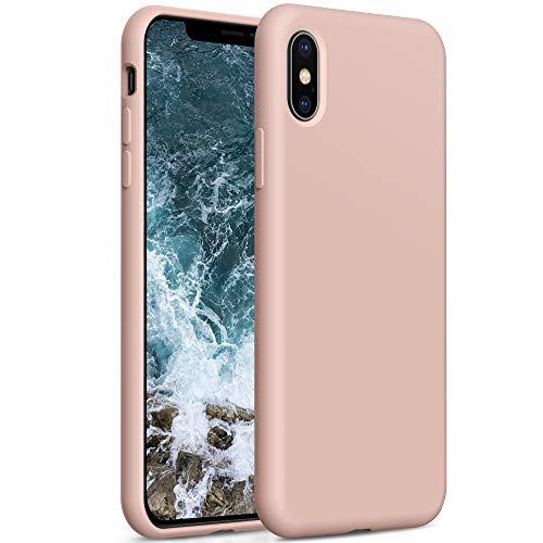 YATWIN Compatibile con Cover iPhone XS Max, Custodia per iPhone XS Max Silicone Liquido, Protezione Completa del Corpo con Fodera in Microfibra, Compatibile con iPhone XS Max 6,5'', Rosa Sabbia