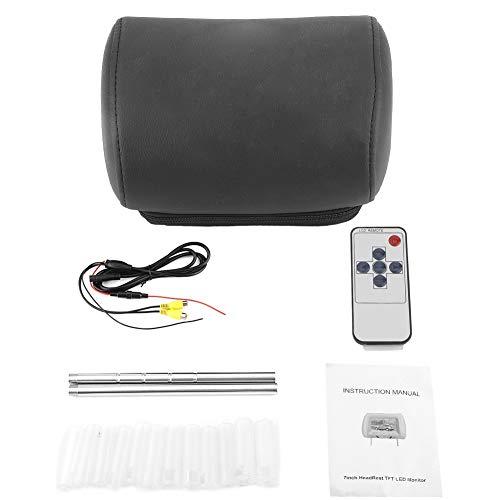 Qiilu Monitor de reposacabezas de coche de 7 pulgadas, monitor LCD de reposacabezas de pantalla ancha de 12 V Reproductor de video DVD MP5 con control remoto