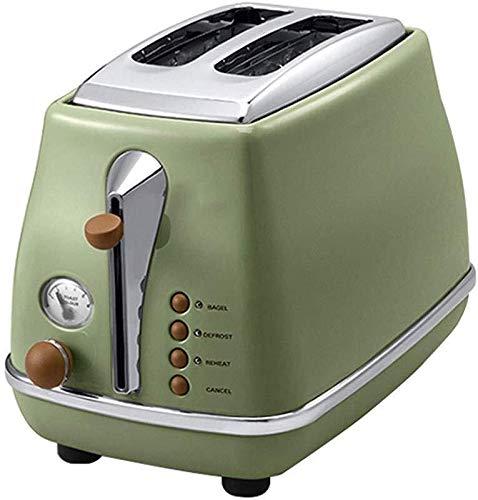 HL-TD Brotbackautomaten Toaster Retro Automatische Brot-Maschine Edelstahl-Staubschutz Fünf Betriebsart Backen Variety Gluten-Frei (Color : Green)