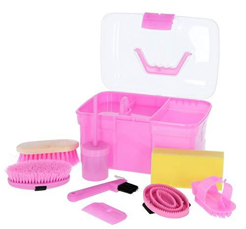 Kerbl Putzbox rosa mit Inhalt 8-teilig (für Kinder, Pferdebürsten, Mähnenbürsten, Putzkiste mit Bürsten, Pferdepflege, Putzzeug pink) 321766