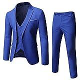 WULFUL Men's Suit Slim Fit One Button 3-Piece Suit Blazer Dress Business Wedding Party Jacket Vest & Pants (Royal Blue, Small)