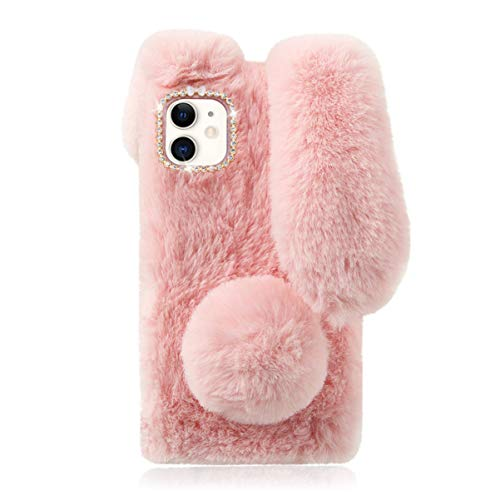 Fluffy Bunny Ear Phone Case for iPhone 11, Warm Smooth Rabbit Fur Cover with Sparkly Diamond, TPU Soft Phone Shell Protective Case, Anti-Shock iPhone 11 Case for Girls (Pink)