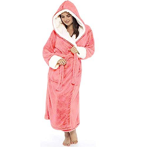 VEKDONE Women Hooded Bathrobe Fuzzy Fleece Robe Sherpa-Lined Spa Robe Dressing Gown Housecoat Full Length Plus Size(Pink,X-Large)