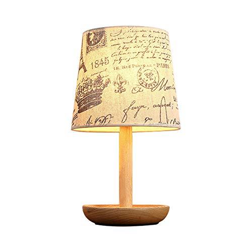 Lampes de table de chevet en bois massif, éclairage de tissu nordique à LED Luminaire en bois de table de plancher en bois de décoration postmoderne (Design : A)