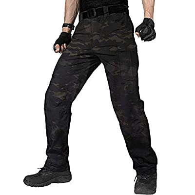 FREE SOLDIER Men's Water Resistant Pants Relaxed Fit Tactical Combat Army Cargo Work Pants with Multi Pocket (Dark Camo, 34W x 32L)