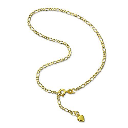 GoldDream Fußkette Herz 333 Gold 25cm Damen 8 Karat Echtschmuck GDF0045Y