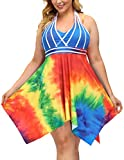 Plus Size Vintage Pin Up Swimsuit Retro Two Piece Skirtini Cover Up Swimdress 18W