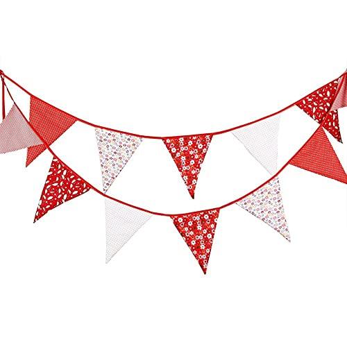 Banderines extragrandes de 12 pies bandera bandera banderín guirnaldas tela triángulo tela rojo