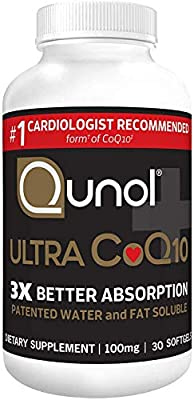 Qunol Ultra 100mg CoQ10, 3X Better Absorption, Patented Water and Fat Soluble Natural Supplement Form of Coenzyme Q10, Antioxidant for Heart Health
