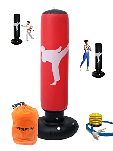 FIT4FUN Saco de boxeo hinchable para niños – Saco de boxeo inflable, divertido juego con este saco de boxeo de suelo para niños. Viene con bomba y bolsa de ajuste, boxeo para niños/rojos.