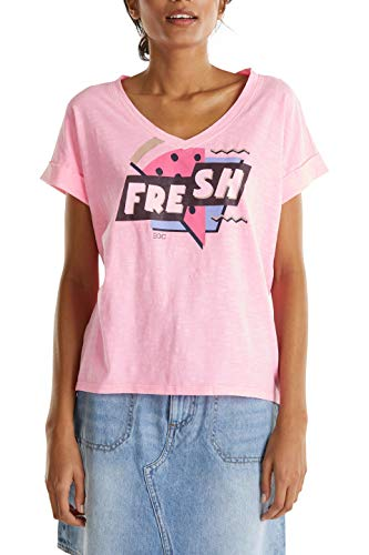 edc by ESPRIT Damen 040CC1K322 T-Shirt, 670/PINK, M