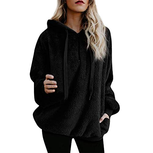 Lazzboy Women Jumpers Sweatshirt Hoodie Long Sleeve Zipper Pocket Fleece Hooded Loose Plus Size(Black,S(8))