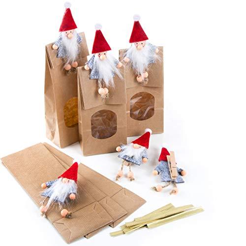 Logbuch-Verlag 6 braune Weihnachtstüten mit Wichtel Klammern - Verpackung Wichtelgeschenk Pralinen Weihnachten