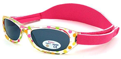 Kiddus Baby Sonnenbrille für Jungen und Mädchen. Von 0 Monaten bis 2 Jahren. 100% UV400-Schutz gegen ultraviolette Sonnenstrahlen. Mit verstellbarem weichen Riemen