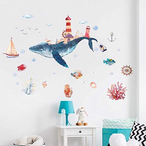 nobrand Underwater World Whale City Acquerello Adesivi Murali Bambino Adesivi Murali Bagno Wndow in Vetro Camerette Decorazioni per La Casa Murale