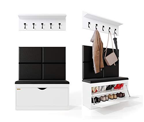Platan Room Wand-Garderobe Set mit Garderobenpaneel & Schuhschrank & Hängeschrank 100 cm Flurgarderobe Garderobenset Flur Eiche Holz Weiß (Weiß, 3-TLG. Mir 4 paneel)