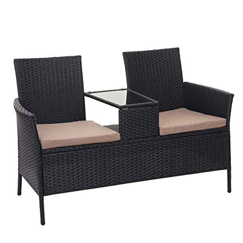 Mendler Poly-Rattan Sitzbank mit Tisch HWC-E24, Gartenbank Sitzgruppe Gartensofa, 132cm - schwarz, Kissen Creme