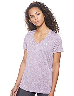 Under Armour Women's Tech V-Neck Twist Short Sleeve T-Shirt , Purple (521)/Metallic Silver , Small