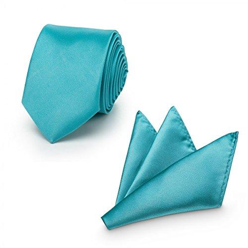 Rusty Bob - Krawatte mit Einstecktuch (in vielen Farben) - für die Verlobung, die Hochzeit - Schlips mit Taschentuch für das Sakko - 2er-Set - Coral/Koralle/Türkis