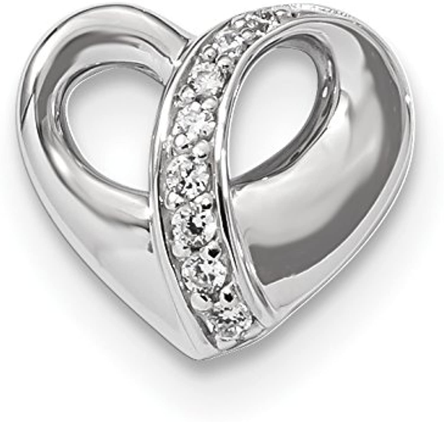 Diamond2Deal 925 Sterling Silver Rhodiumplated Polished CZ Heart Chain Slide Pendant