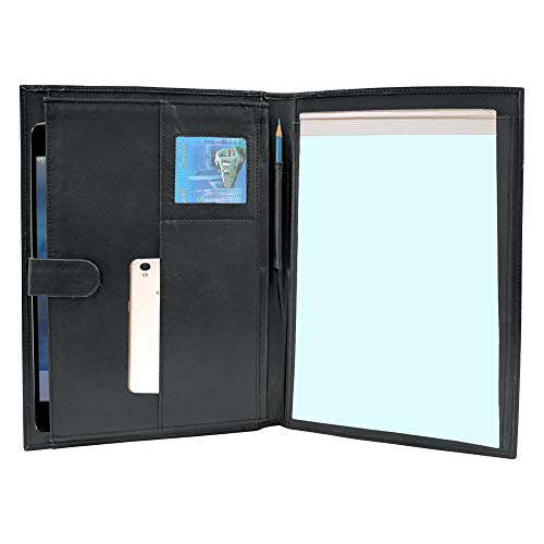 Handmade Genuine Leather Business Portfolio by Rustic Town | Professional Organizer Men & Women | Durable Leather Padfolio with Sleeves for Documents and Notepad (Black)