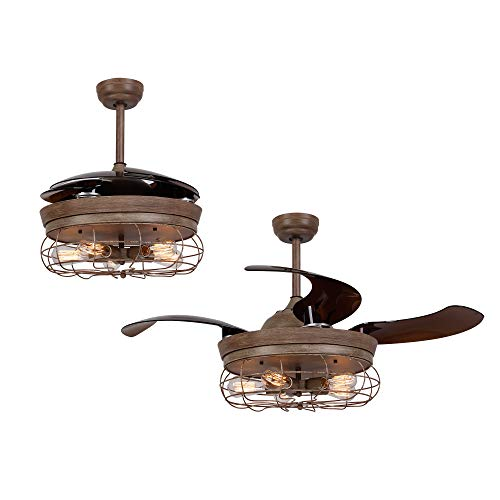 Retractable Ceiling Fan with Light Rustic Ceiling Fan with Remote Control, 46 Inch, Weathered Oak Wood