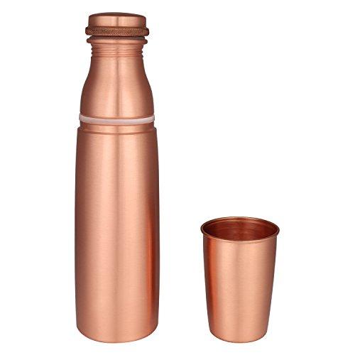 Zap Impex Travellers reines Kupfer Wasserflasche mit Glas für ayurvedische Vorteile - Designer Water Pitcher Flaschen Joint Free