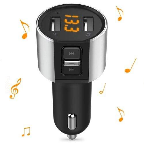 HaiMa Alfawise Dual USB Ports Bluetooth 4,2 Chargeur De Voiture Transmetteur FM-Noir