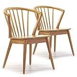 VS Venta-stock Pack 2 sillas Mura Color Roble, Madera Maciza, 55 cm (Largo) 58,5 cm (Profundo) 84 cm (Alto)
