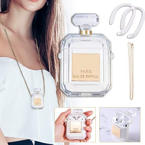 Charminer Carcasa de silicona para AirPods 1 y 2, diseño creativo de botella de perfume, funda transparente para guardar contra caídas con un llavero y par de correas antipérdidas