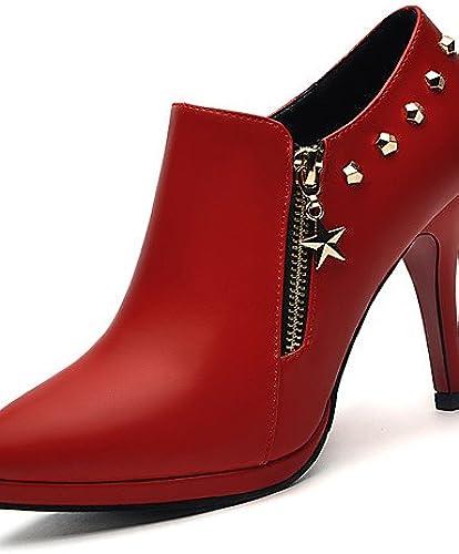 GGX  mujer-Tacón Stiletto-Tacones-Tacones-Boda   Vestido   Fiesta y Noche-Semicuero-negro   rojo