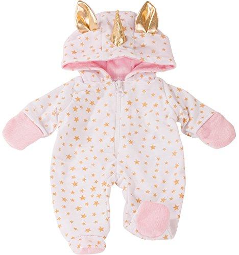 Götz 3402912 Onesie Einhorn - Einteiliger Puppen-Overall Puppenbekleidung Gr. S - Bekleidungs- und Zubehörset für Babypuppen 30 - 33 cm