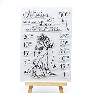 Welcome to Joyful Home 1pc Happy Anniversary Rubber Clear Stamp for Card Making Decoration and Scrapbooking