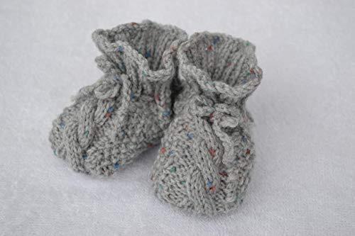 Babyschuhe Babyschühchen Schuhe Babysocken Socken gestrickt grau bunt vegan handgestrickt 0-6 Monate