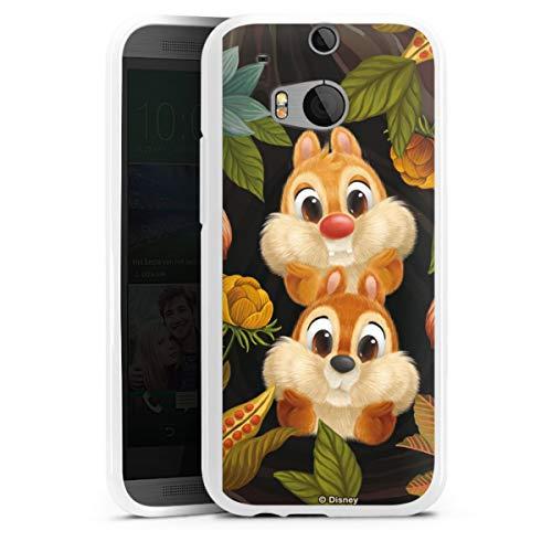 DeinDesign Silikon Hülle kompatibel mit HTC One M8s Case weiß Handyhülle Disney Chip und Chap Offizielles Lizenzprodukt