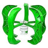 Jardín Solar Luz Generador de Turbinas de Energía Eólica 4500W 12 24 48v 5 Palas Generador Linterna Aerogeneradores Eje Vertical para Farola + Controlador-Verde 4000w-24v