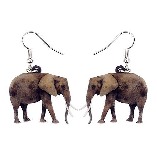 N\A Pendientes de Elefante de la Selva acrílicos, Cuernos Grandes Colgantes, joyería de Animales Salvajes, Mujeres, niñas, niños, Multicolor