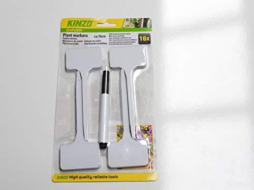Kinzo 16 X Marqueurs de Plante avec Marqueur indélibile Noir
