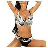 Auifor Las Mujeres más el tamaño de Traje de baño Superior Grande Taza con Talle Alto Inferior del Bikini Set(Blanco/Medium)