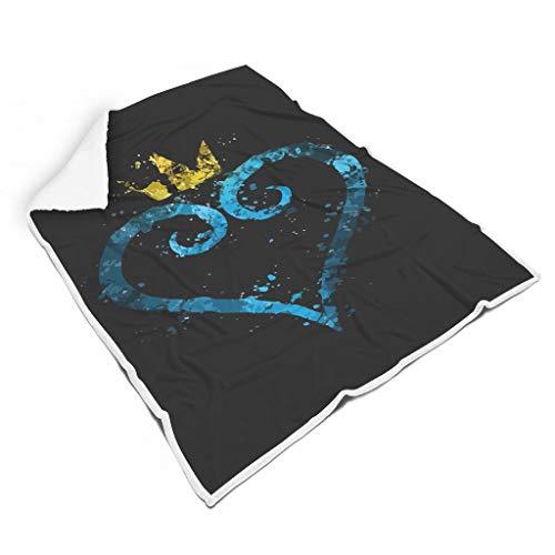 WJunglezhuang Gloden Crown Blue Heart Soft Blanket Microfaser Tagesdecke Decke Bettcouch White 130x150cm