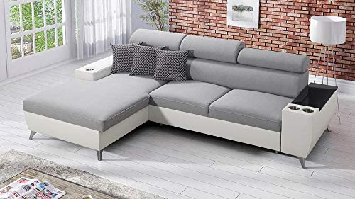 all4all Ecksofa Meggy I Mini Wohnlandschaft Polstersofa Sofa Couch mit Schlaffunktion Bettkasten Links Rechts 26 (Links)