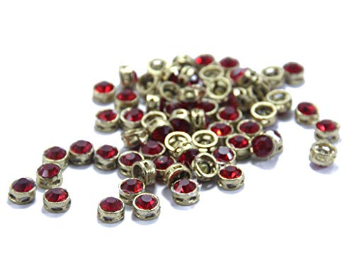 The Design Cart 1CM Circular Kundan Stones for Jewellery Making,Craft,Embroidery,Saree,Blouse Work and Dress Making (Pack of 200 Pieces) (Red)