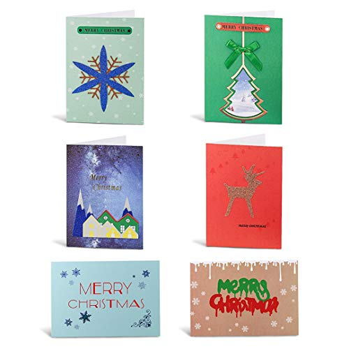 """Christmas Greeting Cards Boxed, Handmade Holiday Cards Collection, Xmas Winter Festival Element, 6 Unique Designs Including Christmas Tree, Snowflake, Reindeer -24 Cards with Envelopes (4.5x6.5"""")…"""