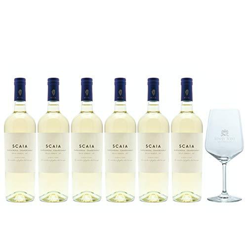 Sparpaket Tenuta Sant Antonio Scaia Bianco Garganega Chardonnay IGT 2019 (6 x 0,75l) mit Spiegelau Senti Vini Weinglas