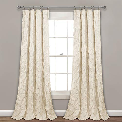"Lush Decor, Ivory Ravello Pintuck Window Curtain Panel, 84"" x 52"", 84"" L"