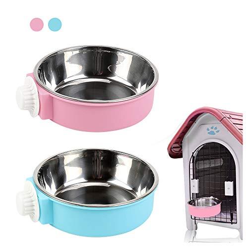 Andiker - Ciotola da appendere, 2 in 1, rimovibile, in acciaio inox, per cuccioli/gatti, ciotole per animali domestici, gabbia da appendere per cani e gatti