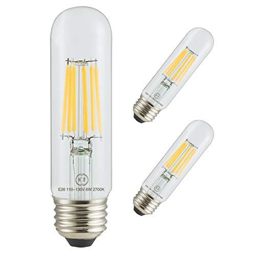 Led Filament Bulb Tubular Retro Vintage Edison T10 Style, Dimmable, E26 Medium Base, Warm Color Light, 450 Lumens, 40 Watt Incandescent Equivalent (Clear Color Glass, 4 Watt, Pack of 3)